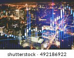 double expose of the digital... | Shutterstock . vector #492186922