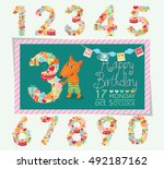 birthday anniversary numbers... | Shutterstock .eps vector #492187162