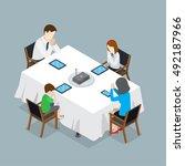 flat isometric family sitting... | Shutterstock .eps vector #492187966