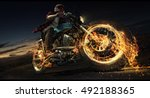 motorcycle. biker riding... | Shutterstock . vector #492188365