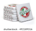 pizza boxes stack isolated on... | Shutterstock . vector #492189316