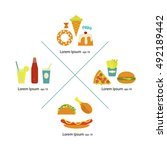 flat fast food menu icons pizza ... | Shutterstock .eps vector #492189442