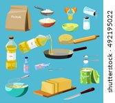 set of baking ingredients and... | Shutterstock .eps vector #492195022