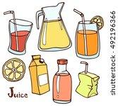 fruit juice set of colored... | Shutterstock .eps vector #492196366