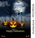 spooky card for halloween. blue ... | Shutterstock . vector #492198136