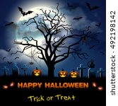 spooky card for halloween. blue ... | Shutterstock . vector #492198142