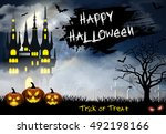 spooky card for halloween. blue ... | Shutterstock . vector #492198166