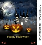 spooky card for halloween. blue ... | Shutterstock . vector #492198172