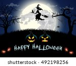 spooky card for happy halloween.... | Shutterstock . vector #492198256