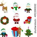 christmas icons deer reindeer... | Shutterstock .eps vector #492200332