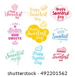 happy sweetest day typography... | Shutterstock .eps vector #492201562