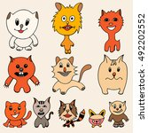 set of cute cat cartoon. art... | Shutterstock . vector #492202552