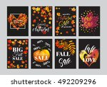 autumn greeting or sale card... | Shutterstock .eps vector #492209296