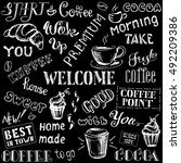 coffee seamless pattern with... | Shutterstock .eps vector #492209386