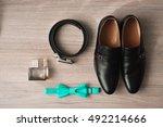 wedding details   elegant groom ... | Shutterstock . vector #492214666