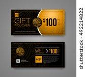 gift voucher design template.... | Shutterstock .eps vector #492214822