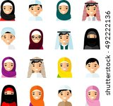set of avatar arab people in... | Shutterstock .eps vector #492222136