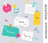 stickers and note papers... | Shutterstock .eps vector #492229198