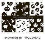 set of halloween seamless... | Shutterstock .eps vector #492229642