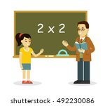young teacher man and school... | Shutterstock .eps vector #492230086