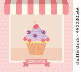 cupcakes cafe shop showcase... | Shutterstock .eps vector #492230566