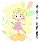 cartoon girl with flower and... | Shutterstock .eps vector #492231382