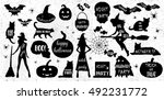 halloween silhouettes. witch ... | Shutterstock .eps vector #492231772