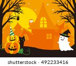vector illustration of a scary... | Shutterstock .eps vector #492233416