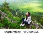 beautiful woman sitting on... | Shutterstock . vector #492235966