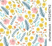 flowers pattern  vintage... | Shutterstock .eps vector #492240742