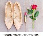nude colored high heels still... | Shutterstock . vector #492242785
