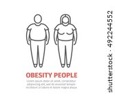 obesity people. man and women. | Shutterstock .eps vector #492244552