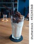 ice coffee. ice coffee freezing ... | Shutterstock . vector #492245368