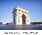 view of a arc de triomphe in... | Shutterstock . vector #492249562