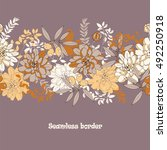 floral seamless border with... | Shutterstock .eps vector #492250918