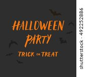 halloween party banner design... | Shutterstock .eps vector #492252886