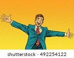 meeting other happy people  pop ... | Shutterstock .eps vector #492254122