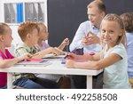 shot of a group of children... | Shutterstock . vector #492258508