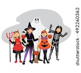 kids' trick or treat halloween... | Shutterstock .eps vector #492260362
