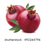 2 fresh whole pomegranates with ... | Shutterstock . vector #492264796