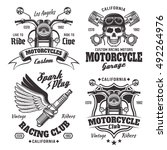 set of four vintage motorcycles ... | Shutterstock .eps vector #492264976