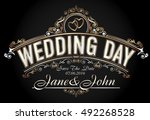 vintage style wedding... | Shutterstock .eps vector #492268528