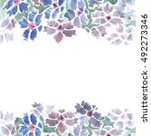 cute watercolor flower border... | Shutterstock . vector #492273346