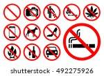 prohibition signs set vector... | Shutterstock .eps vector #492275926