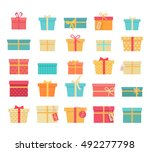 set of colorful gift boxes with ... | Shutterstock .eps vector #492277798