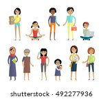 set of women of different ages... | Shutterstock .eps vector #492277936