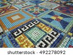 colorful mosaic flooring or wall | Shutterstock . vector #492278092