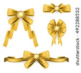 set of ribbon bows vector on... | Shutterstock .eps vector #492288532