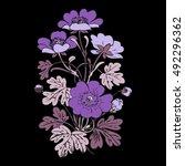 floral bush retro on black... | Shutterstock .eps vector #492296362