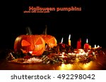 pumpkin on desk and photo with... | Shutterstock . vector #492298042